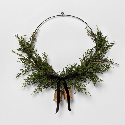 """16"""" Faux Cedar Asym Wreath with Bell and Ribbon - Hearth & Hand™ with Magnolia"""