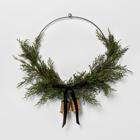 """16"""" Faux Cedar Asym Wreath with Bell and Ribbon - Hearth & Hand™ with Magnolia - image 1 of 1"""