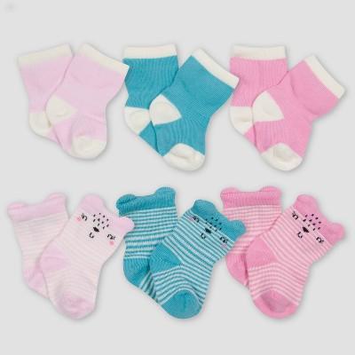 Gerber Baby Girls' 6pk Bear Socks - Pink/Blue