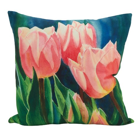 18 X18 Tulip Square Statement Poly Filled Throw Pillow Pink Saro Lifestyle Target
