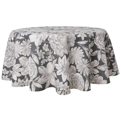 "70"" Cotton Round Linear Floral Tablecloth - Town & Country Living"