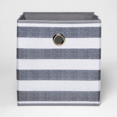 "11"" Fabric Cube Storage Bin Gray White Stripe - Room Essentials™"