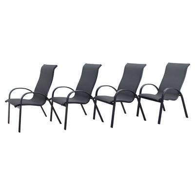 Santa Fe 4pc Aluminum Sling Chairs - Silver - Courtyard Casual