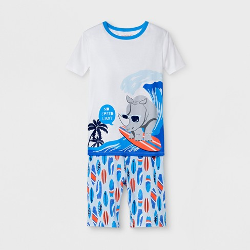 Boys' 2pc Rhino Surfboard Printed Pajama Set With Shorts - Cat & Jack™ Blue - image 1 of 1