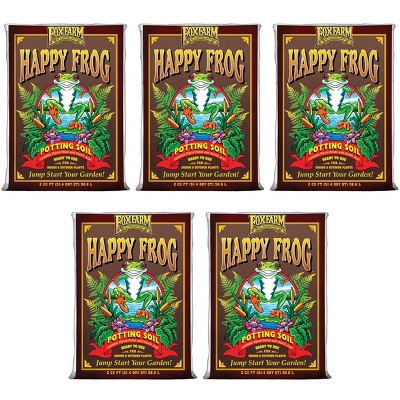 FoxFarm FX14047 Happy Frog pH Adjusted Garden Potting Soil Bag, 2 Cu Ft (5 Pack)