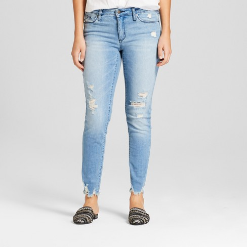 55cc4ade5bad Women s Mid-Rise Destructed Skinny Jeans - Universal Thread™ Light Wash