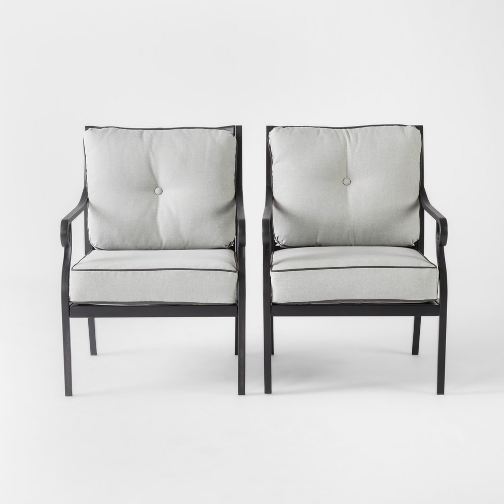Chester 2pk Aluminum Patio Dining Chair - Gray - Threshold was $500.0 now $250.0 (50.0% off)