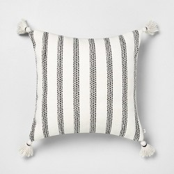 18x18 Stripe Square Pillow Black - Hearth & Hand™ with Magnolia