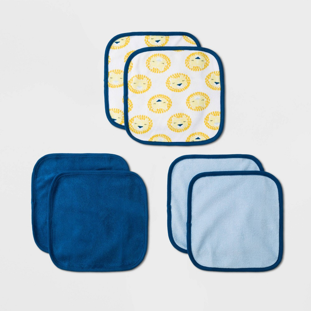 Image of Baby 6pk 'King of the Crib' Washcloth Set - Cloud Island White/Navy/Blue One Size