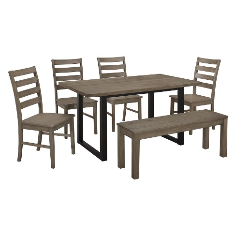 Whitley Wood Dining Set Aged Gray - Saracina Home - image 1 of 5