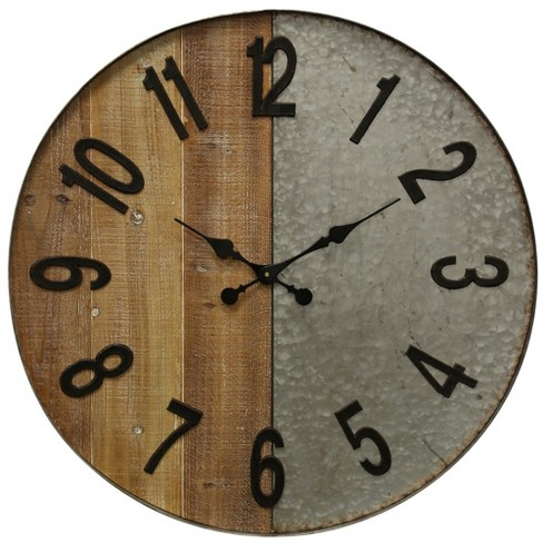 "28"" Half Wooden and Galvanized Metal Wall Clock - StyleCraft - image 1 of 2"