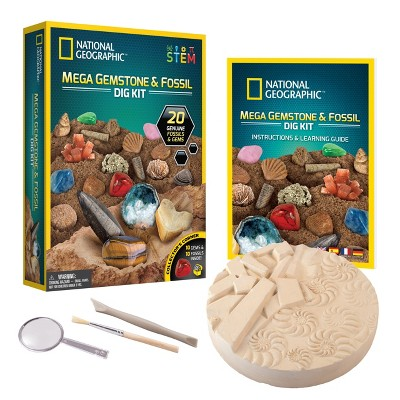 NATIONAL GEOGRAPHIC Mega Fossil & Gemstone Dig Kit, Excavate 10 Real Fossils & 10 Real Gems, STEM Science Gift for Mineralogy and Geology Enthusiasts