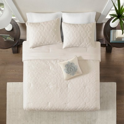 Ivory Vancouver Solid Comforter Set (Queen)5pc