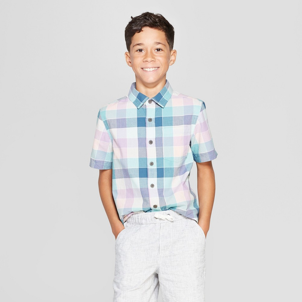 Boys' Woven Plaid Short Sleeve Button-Down Shirt - Cat & Jack Turquoise/Pink M