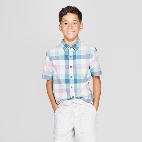 Boys' Woven Plaid Short Sleeve Button-Down Shirt - Cat & Jack™ Turquoise/Pink - image 1 of 3