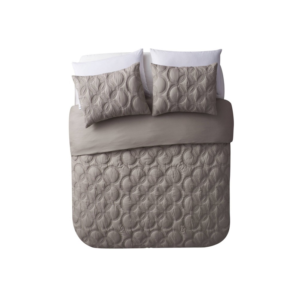 Twin XL 2pc Atoll Embossed Duvet Set Taupe (Brown) - Vcny Home