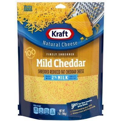 Kraft Finely Shredded Mild Cheddar Cheese Made with 2% Reduced Fat Milk and Added Calcium - 7oz