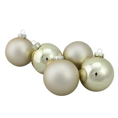 "Northlight 6pc Shiny and Matte Glass Ball Christmas Ornament Set 3.25"" - Gold"