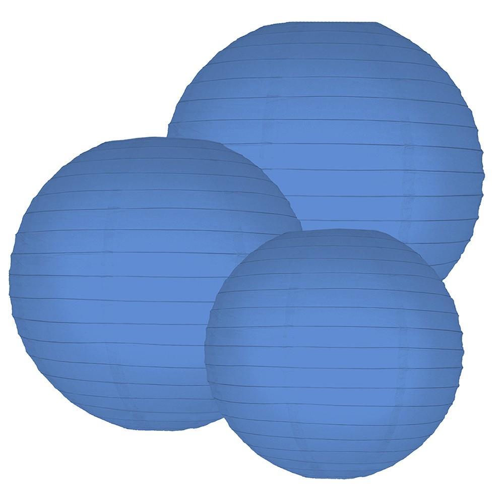6ct Lumabase Blue Multi Size 12 14 16 Paper Lanterns, Turquoise
