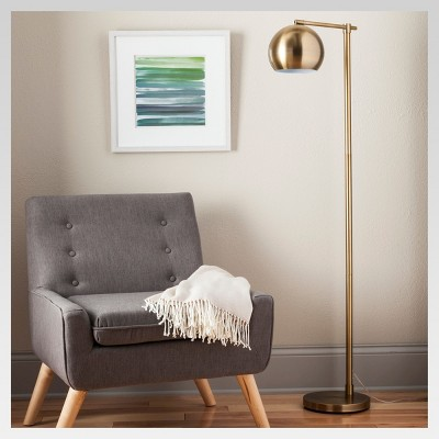 Edris Metal Globe Floor Lamp Brass Includes Energy Efficient Light Bulb - Project 62™