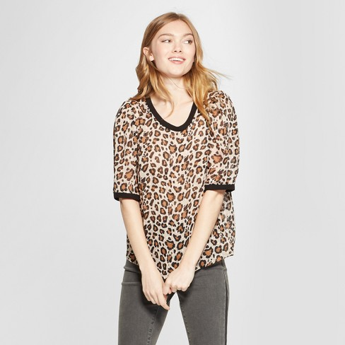 d7c1d4a73 Women s Leopard Print Short Sleeve Woven T-Shirt - A New Day™ Beige ...