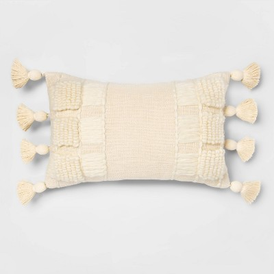 Lumbar Woolen Yarn Applique Texture Pillow Cream - Opalhouse™