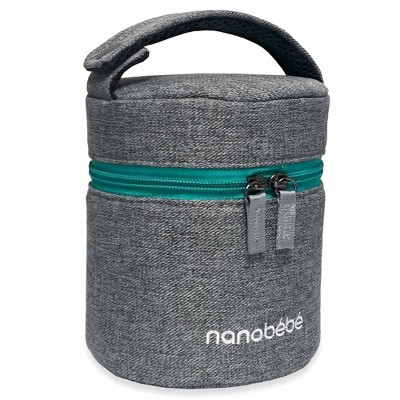 Nanobebe Compact Triple-Insulated Bottle Cooler & Travel Bag with Ice Pack - Gray