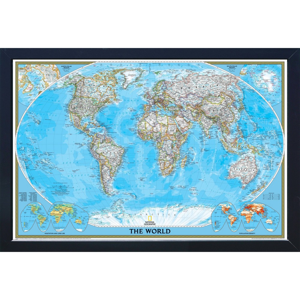 Image of Extra Large National Geographic Magnetic Travel Map World Classic - Home Magnetics