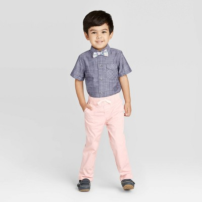 Toddler Boys' 2pc Striped Shirt & Bottom Set with Bowtie - Cat & Jack™ Gray/Pink 18M