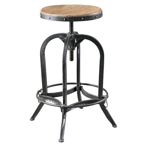 Sensational Farmdale Industrial Adjustable Swivel Bar Stool Natural Antique Black Christopher Knight Home Pabps2019 Chair Design Images Pabps2019Com