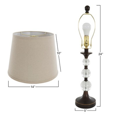 Table Lamps And Floor Lamp Crystal Balls With Bronze Set Of 3 (3 LED Bulbs  Included)   Yorkshire Home