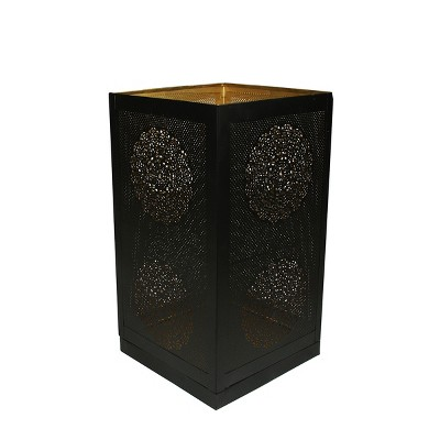 """Northlight 17"""" Black and Gold Moroccan Style Floral Cut-Out Pillar Candle Lantern"""