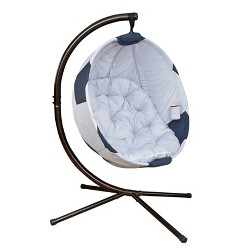 Soccer Ball Hanging Patio Lounge Chair with Stand - White - FlowerHouse