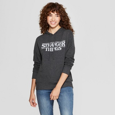 Women's Stranger Things Logo Graphic Hoodie (Juniors') Charcoal XL