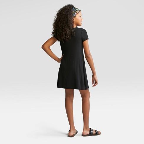 4c17250a68 Girls  Short Sleeve Strappy Neck Dress - Art Class™ Black   Target