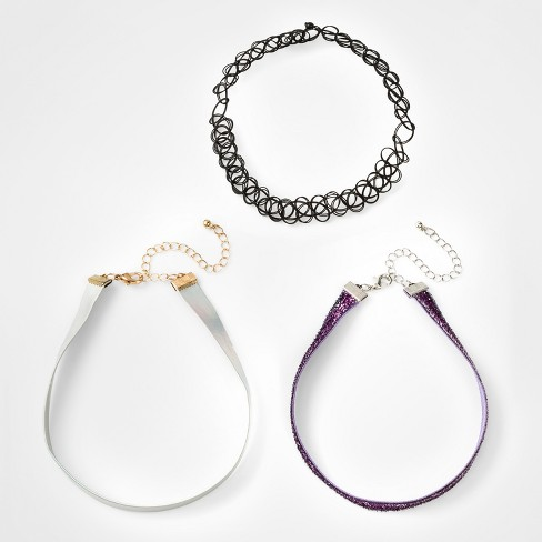 Girls' 3pk Tinsel, Spider Web Charm Choker Set - Cat & Jack™ Purple One Size - image 1 of 1