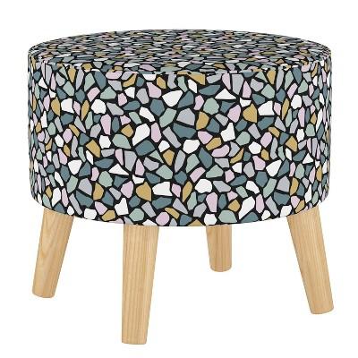 Round Ottoman with Splayed Legs Bold Terrazzo Lavender - Skyline Furniture