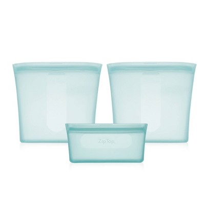 Zip Top Reusable 100% Platinum Silicone Container - 3 Bag Set (2 sandwich/1 snack)- Teal