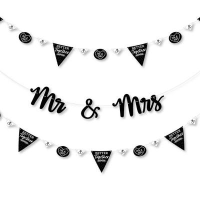 Big Dot of Happiness Mr. and Mrs. - Black & White Wedding or Bridal Shower Letter Banner Decoration - 36 Banner Cutouts & Mr. and Mrs. Banner Letters