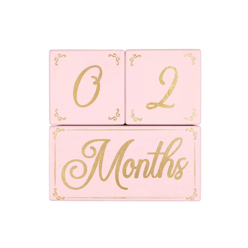 Image of The Peanutshell Milestone Blocks Traditional Girl - Pink/Gold