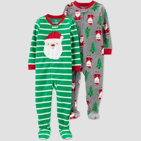 Toddler Boys' 2pk Striped Santa Fleece Blanket Sleeper - Just One You® made by carter's Green/Gray - image 1 of 1