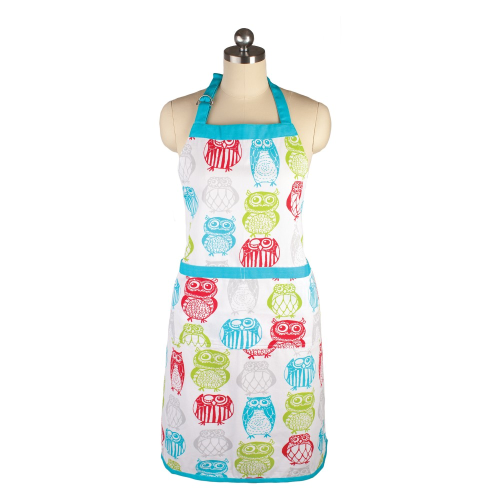 Cooking Apron Happy Owls White/Aqua - Mu Kitchen, Multi-Colored