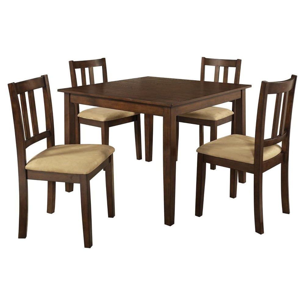 5pc Amber Traditional Height Dining Set Espresso/Beige - Dorel Living, Brown