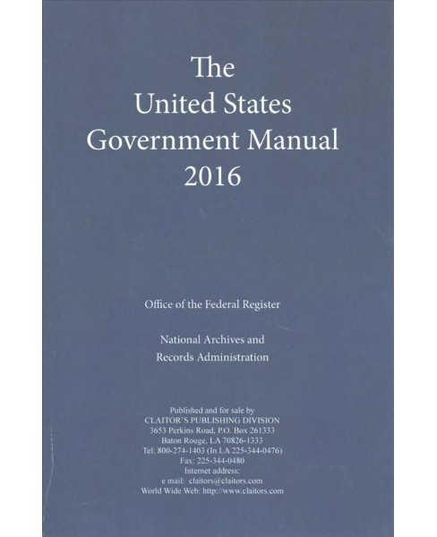United States Government Manual 2016 (Paperback) - image 1 of 1