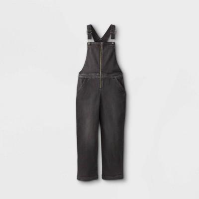 Girls' Zip-Front Denim Overalls Jumpsuit - art class™ Black