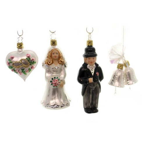 "Inge Glas 5.5"" Wedding Day Bride Groom Heart Bells - image 1 of 3"