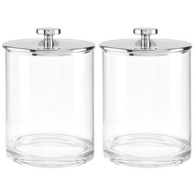 mDesign Modern Round Storage Canister Jar for Kitchen, 2 Pack