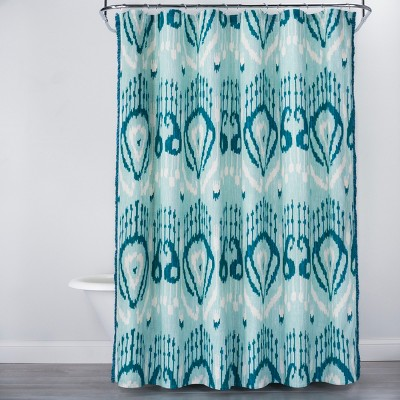 Ikat Shower Curtain Teal Blue - Opalhouse™