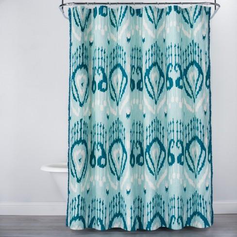 Ikat Shower Curtain Teal Blue