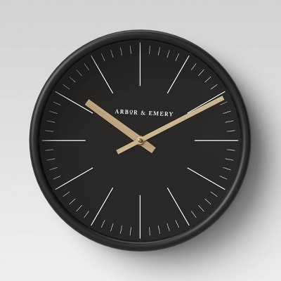 Decorative Wall Clock - Black/Brass - Project 62™
